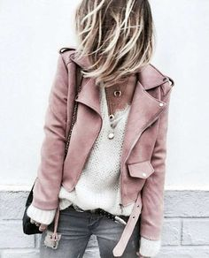 Wearable Wants, white cashmere, pink moto jacket, pink jacket, lambskin jacket Street Style Inspiration, Mode Inspiration, Fashion Inspiration, Style Ideas, Looks Style, Looks Cool, Look Fashion, Fashion Outfits, Womens Fashion