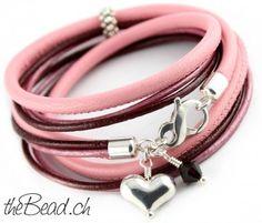 ROSE RED leather bracelet