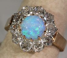 Stunning Antique 3ctw Diamond  Opal Cluster Ring, French c. 1890