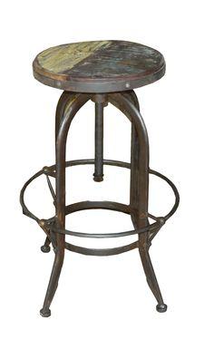 Taburete  Uma vintage de madera y hierro reciclado. Elavable.Información, precios mayoreo y minoristas  www.estudiosdecoracion.com