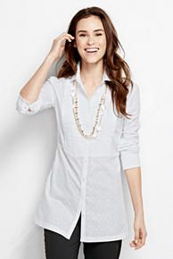 Long Sleeve White Pleated Clip Dot Tunic