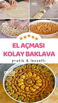 Making 3 Types of Baklava - Backen - Sweet Recipes, Dog Food Recipes, Yummy Recipes, Turkish Baklava, Egyptian Food, Turkish Delight, Turkish Recipes, Frozen Yogurt, Bon Appetit
