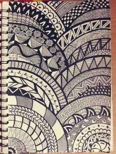 Doodle Art Designs, Easy Doodle Art, Doodle Art Drawing, Cool Art Drawings, Zentangle Drawings, Mandala Drawing, Pencil Art Drawings, Art Drawings Sketches, Zentangle Patterns