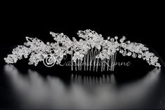 Bridal Hair Jewelry Comb of Crystal Beaded and Rhinestone Leaves