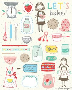 Flora Waycott Design Let's bake! Sketch Note, Drawn Art, Hand Drawn, Doodles, Images Vintage, Grafik Design, Kitchen Art, Food Illustrations, Cute Illustration