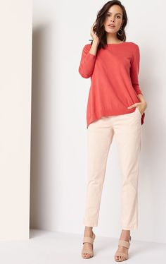 704bd4f93ec4d2 I like the style of this shirt Stitch Fix Spring Styles  Pair a coral  sweater with peach or white pants for a fresh work outfit for spring.