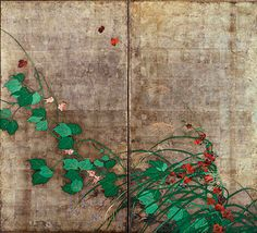 Sakai Hōitsu. Grasses and Flowers in Spring and Fall. Pair of two panel folding screens. Color on silver leaved paper. Edo period. Tōkyō National Museum.