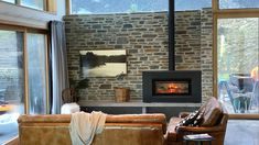 Mel and Rob Ferguson choose a Stovax Studio wood burner for their mountain property Log Burner, This Is Us, Mountain, Studio, Architecture, Wood, Building, House, Arquitetura