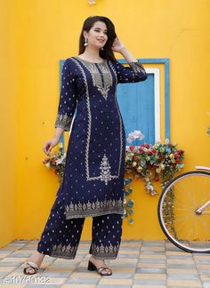 Checkout this latest Kurta Sets Product Name: *Women Rayon A-line Embroidered Long Kurti With Palazzos* Kurta Fabric: Rayon Bottomwear Fabric: Rayon Fabric: No Dupatta Sleeve Length: Three-Quarter Sleeves Set Type: Kurta With Bottomwear Bottom Type: Palazzos Pattern: Embroidered Multipack: Single Sizes: M (Bust Size: 38 in, Shoulder Size: 14 in, Kurta Waist Size: 38 in, Kurta Hip Size: 38 in, Kurta Length Size: 43 in, Bottom Waist Size: 36 in, Bottom Hip Size: 38 in, Bottom Length Size: 40 in)  L (Bust Size: 40 in, Shoulder Size: 14.5 in, Kurta Waist Size: 40 in, Kurta Hip Size: 40 in, Kurta Length Size: 43 in, Bottom Waist Size: 38 in, Bottom Hip Size: 40 in, Bottom Length Size: 40 in)  XL (Bust Size: 42 in, Shoulder Size: 15 in, Kurta Waist Size: 42 in, Kurta Hip Size: 42 in, Kurta Length Size: 43 in, Bottom Waist Size: 40 in, Bottom Hip Size: 42 in, Bottom Length Size: 40 in)  XXL (Bust Size: 44 in, Shoulder Size: 15.5 in, Kurta Waist Size: 44 in, Kurta Hip Size: 44 in, Kurta Length Size: 43 in, Bottom Waist Size: 42 in, Bottom Hip Size: 44 in, Bottom Length Size: 40 in)  Country of Origin: India Easy Returns Available In Case Of Any Issue   Catalog Rating: ★3.8 (245)  Catalog Name: Women Rayon A-line Embroidered Long Kurti With Palazzos CatalogID_1979638 C74-SC1853 Code: 196-10760132-5481