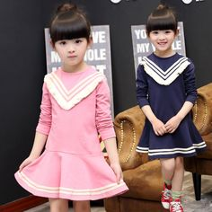 >> Click to Buy << 2016 autumn new children's clothing girls dress Korean children fashion classic striped dress College Wind long-sleeved costume #Affiliate
