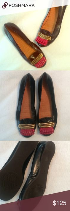 {chie mihara} Leather Ruffle Flats Bkack shiny leather flats with gold and red leather trim. Leather upoer, insole. Non skid rubber outsole. Virtually perfect. Teeny red mark on left toe (shown) looks like it can be removed. Euro size 37 fits small US 7 or 6.5. Anthropologie Shoes Flats & Loafers