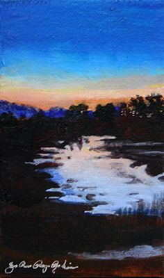 Evening Shimmer by JoAnne Perez Robinson Acrylic ~ 5 in. x 3 in.