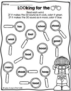 OO Like Spoon Free printable worksheet for kinder or first