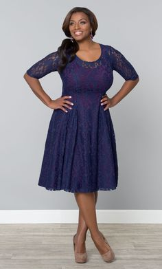 fit & flare blue/purple scoop neck Sweet Leah Lace Dress at Kiyonna Clothing. wedding guest $148
