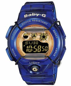 Baby-G Watch, Women's Digital Blue Resin Strap 45x39mm BG1005A-2