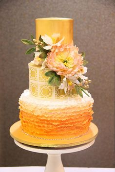 Peach Ombre and Gold  by Signature cake by Shweta - http://cakesdecor.com/cakes/224957-peach-ombre-and-gold