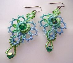 Aqua tatted lace earrings with crystal and glass beads