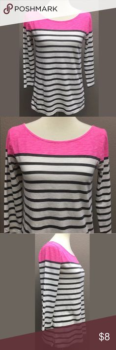 """J.Crew Knit Pullover Top J.Crew 100% Cotton knit pullover top size XS. In great condition with no stains or holes  Black, White, & Pink  3/4 sleeves Approximate measurements taken flat  Armpit to armpit 17"""", & length 21.5"""" Arrives clean and ready to wear from a smoke free environment J. Crew Tops"""