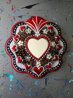 Mexican tin sacred heart on wood plaque / Mexican por TheVirginRose