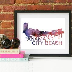 Panama City Beach Watercolor Skyline Panama City Beach Panama City Beach Gift Panama City Beach Art Panama City Beach Florida Cityscape Art, Skyline Art, Beach Watercolor, Watercolor Print, Couple Gifts For Her, Beach Posters, Beach Gifts, Beach Wall Art, Grandparent Gifts