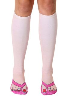 Flip Flops Pale Knee High Socks -- If I had these socks, I'd never have to shave my legs again. #winwin #justsaying