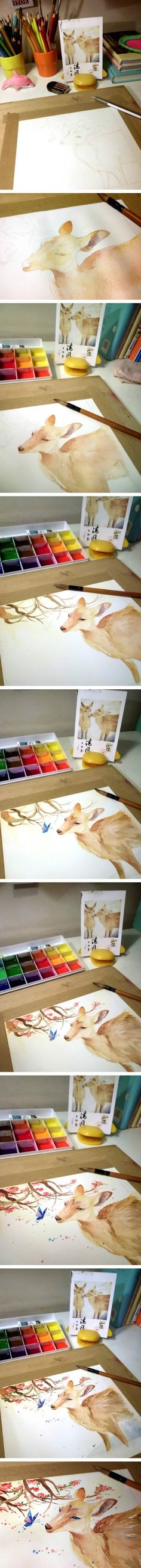 Step by step painting a deer from a photograph.