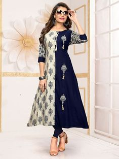 A melange of timeless tradition and contemporary style, this kurti is brought to you by the popular brand. Its kurti is A-line has Beautiful Embroidered, Round Neck & Short Sleeves that adds to its design. Salwar Designs, Kurti Designs Party Wear, Blouse Designs, Long Kurti Patterns, Dress Patterns, Beading Patterns, Shirt Style Kurti, Embroidery Designs, Angrakha Style