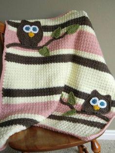 Owl Baby Blanket Girl Baby Shower Gift by rosanne