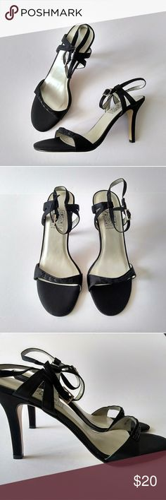 Special Occasions Black Heels - US Size 7 - NEW! New, unused and unworn black, open-toe heels w/ straps by Special Occasions - Saugus Shoe. Great for formal events!   US Size 7  Width: Narrow Heel: Slim, High (3 in.) Material: Synthetic  Genuine Leather Sole Special Occasions by Saugus Shoe Shoes Heels
