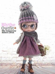 ◆Blythe Outfit◆ブライス♪コート&ワンピコーデ9点セットNO63_ブライス本体・眼鏡は付属しません。