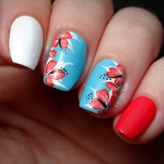 gorgeous red sky blue floral by kimiko7878
