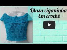 BLUSA CIGANINHA EM CROCHÊ - YouTube Crochet Bikini Top, Knit Crochet, Crochet Designs, Crochet Patterns, Crochet Baby, Free Crochet, Crochet Skirts, Baby Dress, Bikini Tops