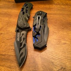 Tac-Force Spring Assisted Tactical pocket Knife with Blue/Black Handle and Clip