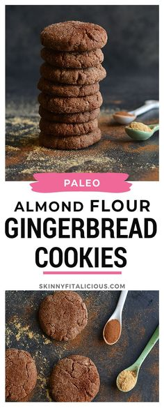Paleo Salted Gingerbread Cookies are flavored with molasses and warm spices! Paleo Salted Gingerbread Cookies are flavored with molasses and warm spices! Healthy Gingerbread Cookies, Gluten Free Gingerbread, Strawberry Oatmeal Bars, Blueberry Crumble Bars, Ginger Bread Cookies Recipe, Paleo Cookies, Paleo Vegan, Paleo Food, Quick Healthy Desserts