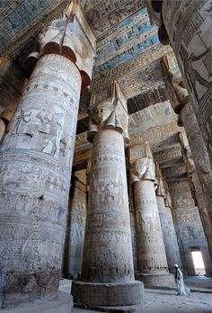 Egypt: 'Outer hypostyle hall of Hathor Temple at Dendera.' - Paul Smit   Mick Palarczyk -