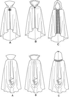 Meval Hooded Cape, Gown, Hat Costume Pattern Sz 10, 12