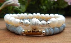 Just Breathe Freshwater Pearl Bracelet with Shells