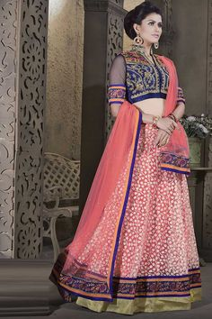 Peach and Navyblue Brasso Lehenga Choli Design No. DMV7833  Price : $92.61 Andaaz Fashion presents new arrival semi stitched Peach and Navyblue Brasso Lehenga Choli with Chinese Collar Blouse and Half Sleeve. Crafted with lace and patch work. This is prefect for party wear, wedding, festival, ceremonial Dress. For More Details Visit Here @ http://www.andaazfashion.us/peach-and-navyblue-brasso-lehenga-choli-dmv7833.html