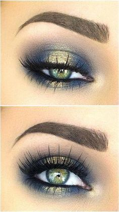Blues of the Sea eye makeup look. Makeup for brow eyes, blue eyes, green eyes and all skin and hair colours. Highlights your eyes. Eyeshadow beauty tutorial for smokey eyes, nude lip with wing eyeliner. 21 Stunning Makeup Looks for Green Eyes. Gold Eye Makeup, Eye Makeup Tips, Makeup Hacks, Smokey Eye Makeup, Makeup Trends, Makeup Inspo, Makeup Eyeshadow, Makeup Inspiration, Makeup Ideas