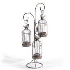 Bougeoir triple Cage oiseau