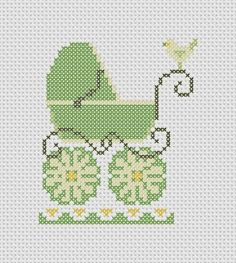 baby carriage cross stitch pattern. I think I would switch out the green for pink/blue or maybe lavendar.