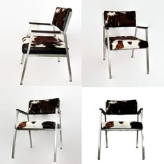 Vintage Shaw Walker Chair - Mid Century Seating - Office Chair - Upcycled - 1960s - Cowhide Leather - Brushed Aluminum