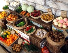 Miniature vintage street shop - The Alley Vegetable Stalls by Hea Kyung Lee
