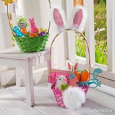 "Give out a ""Hoppy"" Easter basket! Simply add a rabbit ear and fluffy cotton tail to your basket! Complete the gift by filling it with bunny themed gifts like pink Bunny PEEPS®, a carrot jump rope and more!"