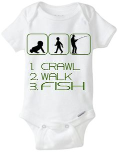 "Fish / Fishing Baby Gift Onesie: Great for any new Dad who loves to Fish or is a Fisherman - ""Crawl Walk Fish"" Shown in Camo Green, but available in any color! Customize by adding baby's name! Available Here: www.etsy.com/shop/LittleFroggySurfShop"