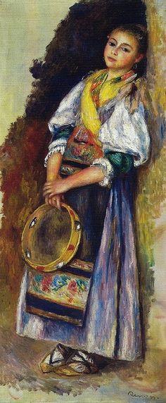 """TAMBOURINE   """"Italian Girl with Tambourine"""" (1881) Pierre-Auguste Renoir  (1841-1919) fue un pintor francés impresionista, que en la segunda parte de su carrera se interesó por la pintura de cuerpos femeninos en paisajes, inspirados a menudo en pinturas clásicas renacentistas y barrocas.  Renoir ofrece una interpretación más sensual del impresionismo, más inclinada a lo ornamental y a la belleza. No suele incidir en lo más áspero de la vida moderna, como a veces hicieron Manet o Van Gogh…"""