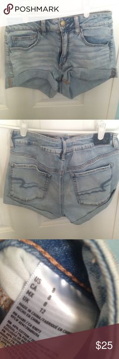 American eagle Jean shorts American eagle Jean shorts. Worn once. Good condition. High waisted. Cuffed. American Eagle Outfitters Shorts Jean Shorts