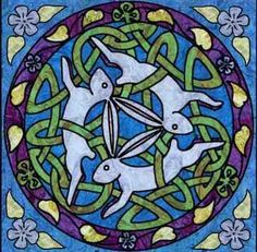 Celtic Three Hares Wall Hanging Quilt Pattern at Creative Quilt Kits Celtic Quilt, Bunny Tattoos, Rabbit Tattoos, Celtic Patterns, Celtic Designs, Rabbit Art, Rabbit Crafts, Bunny Art, Celtic Art