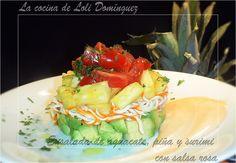 La ensalada de aguacate, piña y surimi con salsa rosa esta riquísima,  pues el sabor fresco y dulce de la piña contrasta con el resto de ingredientes y la convierte en una delicia.  Receta en mi Blog: http://lacocinadelolidominguez.blogspot.com.es/2014/08/ensalada-de-aguacate-pina-y-surimi-con.html Videoreceta en You Tube: https://www.youtube.com/watch?v=bgEt2K_DPyw