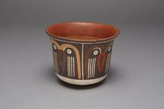 Nazca South coast, Peru  Bowl Depicting a Repeating Abstract Motif, Possibly Representing Owls, 180 B.C./A.D. 500  Ceramic and pigment 10.6 x 14.1 cm (4 3/16 x 5 9/16 in.)